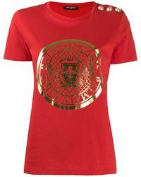 Balmain T-shirt à logo - Rouge