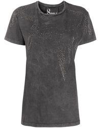 8pm Rhinestone-star Distressed T-shirt - Gray
