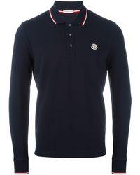 Moncler Poloshirt Met Lange Mouwen - Blauw