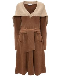 JW Anderson Cape Detail Knitted Dress - Brown