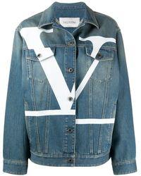 Valentino ロゴ デニムジャケット - ブルー