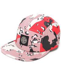 Stone Island ロゴ パッチワークキャップ - ピンク