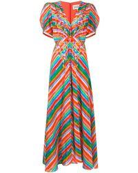 Saloni ストライプ ドレス - オレンジ