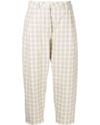 Casey Casey Cropped Check-pattern Trousers - Natural