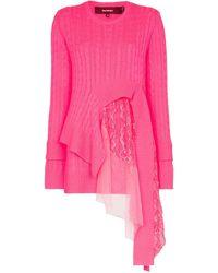 Sies Marjan - Trine Lace-insert Asymmetric Sweater - Lyst