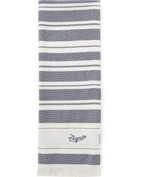 Ermenegildo Zegna Пляжное Полотенце С Вышитым Логотипом - Синий