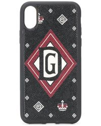 Dolce & Gabbana Funda de iPhone X con estampado de coronas - Negro