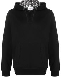 Ferragamo Leather-drawcord Hooded Sweatshirt - Black