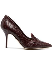 DSquared² Croc-effect High-heel Loafer Court Shoes - Red