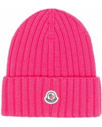Moncler Шапка Бини В Рубчик С Нашивкой-логотипом - Розовый