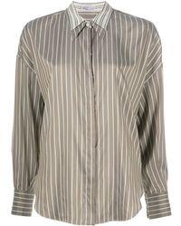 Brunello Cucinelli Рубашка В Тонкую Полоску С Контрастным Воротником - Серый