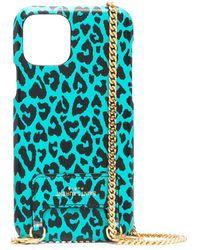 Saint Laurent Чехол Для Iphone 11 Pro С Леопардовым Принтом И Цепочкой - Синий
