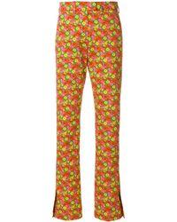MSGM Slim-fit Floral Print Trousers - Желтый