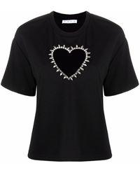 Area Heart Cut-out Detail Top - Black
