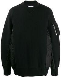 Sacai Pullover mit gefütterten Einsätzen - Schwarz