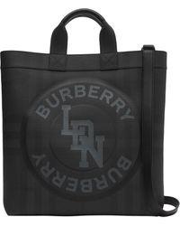 Burberry Grande sac cabas à carreaux London - Noir