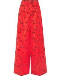Oscar de la Renta Lace Wide-leg Pants - Red