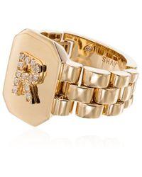 SHAY 18kt Yellow Gold Diamond Initial R Ring - Metallic