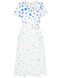 Mira Mikati Dot Print Flared Cotton Dress - White