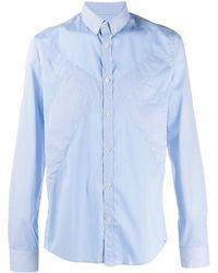 Les Hommes チェックパネル シャツ - ブルー