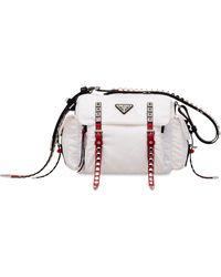 Prada Studded buckle shoulder bag - Bianco