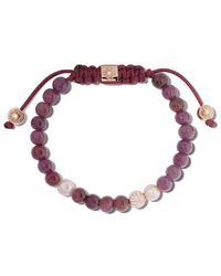 Shamballa Jewels - 18kt Rose Gold, Diamond, Ruby & Pearl Non-braided Beaded Bracelet - Lyst