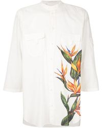 Dolce & Gabbana Mandarin Collar Shirt With Bird Of Paradise Print - White