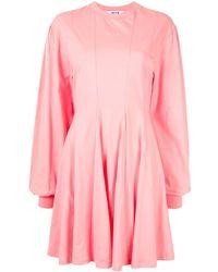 MSGM Платье Мини Со Складками - Розовый