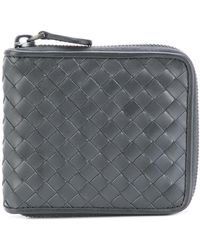 Bottega Veneta Intrecciato Weave Zip-around Wallet - Grey