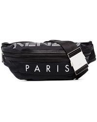 KENZO Logo Print Leather Trimmed Belt Bag - Black