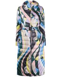 Emilio Pucci Belted Abstract-print Padded Coat - Multicolour