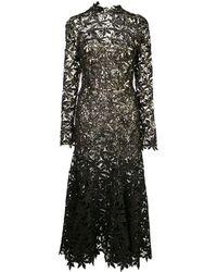 Oscar de la Renta Vestido de fiesta con motivo floral con lentejuelas - Negro