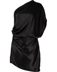 Michelle Mason ワンショルダー シルクミニドレス - ブラック