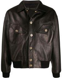 Versace Medusa Head Details Leather Jacket - Black