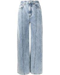 ROKH High Waisted Wide Leg Jeans - Blue