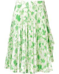 CALVIN KLEIN 205W39NYC ホワイト And グリーン Acid Leaves Soleil プリーツ スカート