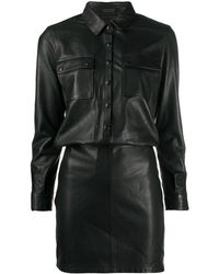 AllSaints スリムフィット シャツドレス - ブラック