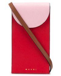 Marni Étui pour téléphone colour block à bandoulière - Rouge