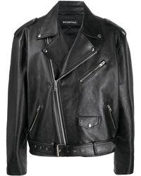 Balenciaga Logo Print Biker Jacket - Black