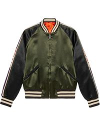 Gucci Reversible Bomber Jacket With Printed Sleeves - Green