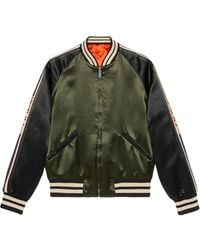 Gucci Reversible Bomber Jacket With Printed Sleeves - Groen