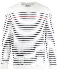 Brunello Cucinelli Striped Long-sleeved T-shirt - White