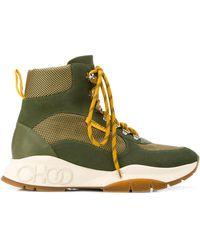Jimmy Choo Inca/M Boots En Maille Techno Et Mix De Cuir Vert Arme