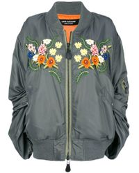 Junya Watanabe Ruched sleeve embroidered floral bomber jacket - Vert