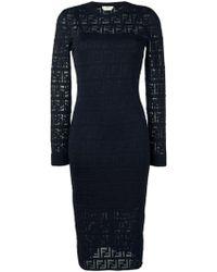 Fendi モノグラム ニットドレス - ブルー
