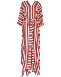 Oscar de la Renta Striped Belted Kaftan - White