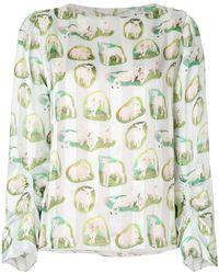 Carven Lamb Print Blouse - Green