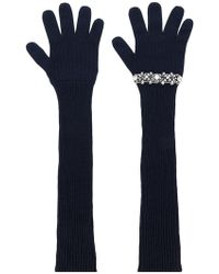 N°21 Sequinned Ribbed Gloves - Blue