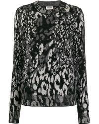 Saint Laurent Leopard Jacquard-knit Sweater - Black