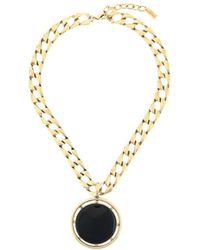 Saint Laurent Medallion Pendant Necklace - Metallic